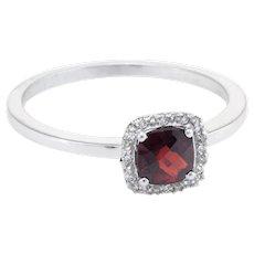 Garnet Diamond Square Stacking Ring Estate 14 Karat White Gold Vintage Fine Jewelry