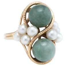 Ming's Jade Cultured Pearl Cocktail Ring Vintage 14 Karat Yellow Gold Estate Jewelry