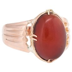 Antique Victorian Mens Carnelian Ring Vintage 14 Karat Rose Gold Estate Jewelry Sz 10