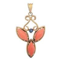 Coral Sapphire Pendant Vintage 14 Karat Yellow Gold Estate Fine Jewelry Heirloom