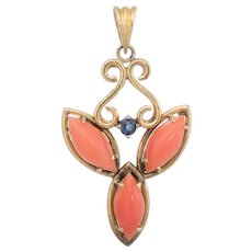 Coral Sapphire Pendant Vintage 14 Karat Yellow Gold Estate Fine Jewelry Heirloom