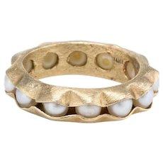 Pearls in a Pod Eternity Ring Sz 5 Vintage 14 Karat Yellow Gold Estate Fine Jewelry