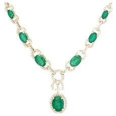 Effy Emerald Diamond Drop Necklace Estate 14 Karat Yellow Gold Fine Jewelry Pre Owned