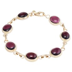 Rhodolite Garnet Station Bracelet Vintage 14 Karat Yellow Gold Estate Fine Jewelry