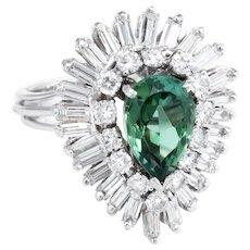 Green Tourmaline Diamond Ballerina Cocktail Ring Vintage 14 Karat White Gold Estate