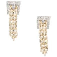 Buckle Diamond Drop Earrings Vintage 14 Karat Yellow Gold Estate Fine Jewelry