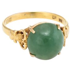 Jade Cocktail Ring Vintage 18 Karat Yellow Gold Estate Fine Jewelry Pre Owned