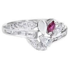 Mixed Cut Diamond Ruby Band Ring Vintage 14 Karat White Gold Estate Fine Jewelry