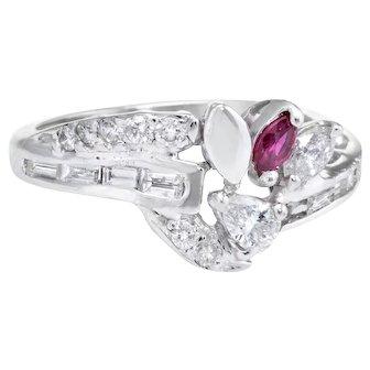 Mixed Cut Diamond Ruby Band Ring Vintage 14 Karat White Gold Estate Fine Jewelry