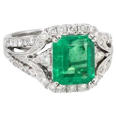 Natural Emerald Diamond Ring Vintage 18 Karat White Gold Estate Fine Jewelry Heirloom