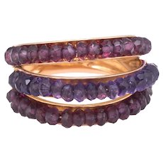 Le Gi Amethyst Pink Tourmaline 3 Tier Dome Ring Band Vintage 18 Karat Yellow Gold