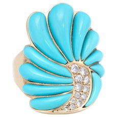 John Tolle Turquoise Diamond Cocktail Ring Estate 14 Karat Yellow Gold Fine Jewelry