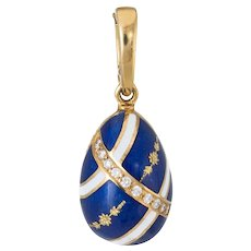 Faberge Diamond Egg Charm Pendant Estate 18 Karat Gold Blue Guilloche Enamel