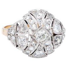 Vintage Art Deco 14 Karat Yellow Gold Diamond Ring Estate Fine Jewelry Heirloom