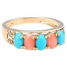 Vintage Turquoise Coral Ring 14 Karat Yellow Gold Estate Fine Jewelry Sz 9.25 Band