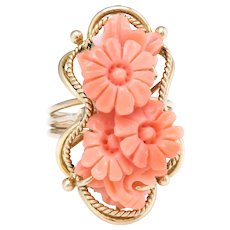 Carved Coral Flower Ring Vintage 14 Karat Yellow Gold Estate Fine Jewelry Pre Owned