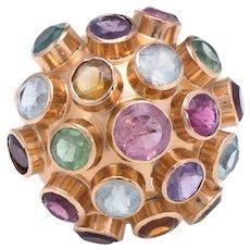 Sputnik Gemstone Domed Cocktail Ring Vintage 18 Karat Rose Gold Estate Fine Jewelry