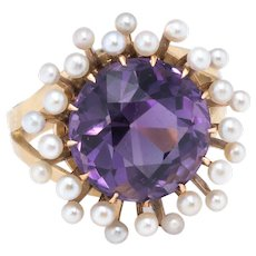 Amethyst Seed Pearl Cocktail Ring Vintage 14 Karat Yellow Gold Estate Fine Jewelry