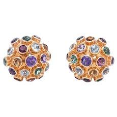 Sputnik Vintage Gemstone Dome Cocktail Earrings 18 Karat Rose Gold Estate Jewelry