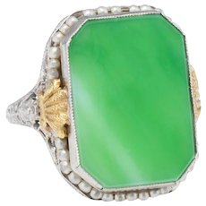 Antique Deco Ostby Barton Ring Green Jade Pearl Filigree 10 Karat White Gold Sz 7