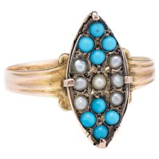 Antique Victorian c1896 Seed Pearl Turquoise Ring Vintage 15 Karat Yellow Gold