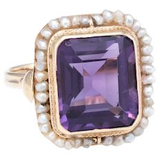 Amethyst Natural Seed Pearl Square Cocktail Ring Vintage 14 Karat Yellow Gold Estate
