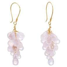 Rose Quartz Briolette Drop Earrings Estate 18 Karat Yellow Gold Vintage Fine Jewelry