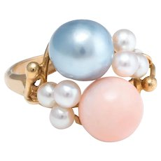Angel Skin Coral Grey Pearl Cocktail Ring Vintage 14 Karat Yellow Gold Estate Jewelry