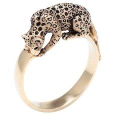 Leopard Cat Ring Vintage 14 Karat Yellow Gold Estate Fine Animal Jewelry Heirloom