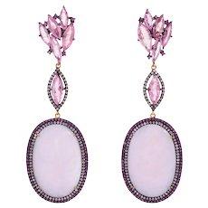 Pink Opal Tourmaline Diamond Ruby Dangle Earrings Estate 14 Karat Gold Silver Fine