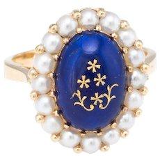 Enamel Cultured Pearl Princess Cocktail Ring Vintage 18 Karat Yellow Gold Estate Fine