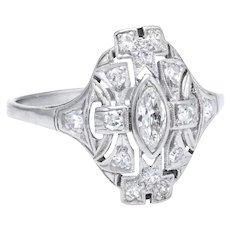 Vintage Art Deco Diamond Sheild Ring 18 Karat White Gold Estate Fine Jewelry