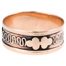 Antique Victorian Embossed Wedding Band Ring Sz 7 1/2 Vintage 10 Karat Rose Gold