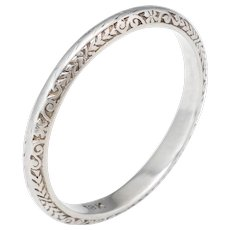 Vintage Art Deco Wedding Band Ring Sz 6.5 18 Karat White Gold Estate Fine Jewelry
