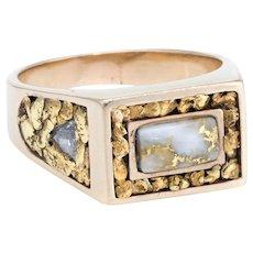 Gold in Quartz Mens Diamond Nugget Ring Vintage 14 Karat Yellow Gold Estate Jewelry