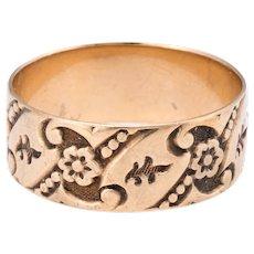 Antique Victorian Embossed Wedding Band Ring Sz 6 Vintage 10 Karat Rose Gold Estate