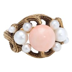 Antique Art Nouveau Natural Coral Cultured Pearl Ring Vintage 21 Karat Yellow Gold