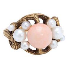 Antique Art Nouveau Natural Coral Cultured Pearl Ring Vintage 21 Karat Yellow Gold