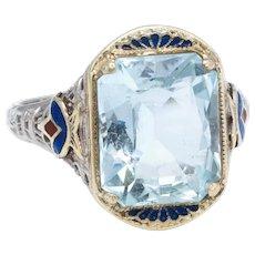 Antique Deco Aquamarine Enamel Filigree Ring Vintage 14 Karat White Gold Estate