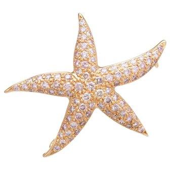 1.80ct Pink Diamond Starfish Pendant Brooch Estate 18 Karat Rose Gold Fine Jewelry