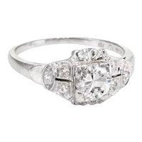 Antique Deco Diamond Engagement Ring Vintage Platinum Estate Bridal Jewelry