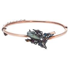 "Antique Victorian Moth Bracelet 14 Karat Rose Gold Silver Chrysoberyl 6"" Fine Vintage"