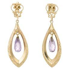 Amethyst Dangle Earrings Vintage 14 Karat Yellow Gold Estate Fine Jewelry Pre Owned