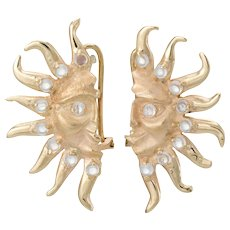Moonstone Moon & Sun Earrings Vintage 14 Karat Yellow Gold Estate Fine Jewelry