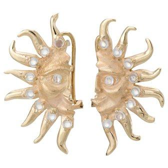 Moonstone Moon & Sun Earrings Vintage 14 Karat Yellow Gold Estate Fine Jewelry
