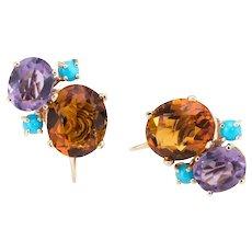 Gemstone Cluster Earrings Vintage 14 Karat Gold Citrine Amethyst Turquoise Estate