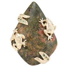Frog Cocktail Ring Vintage 14 Karat Yellow Gold Jasper Peridot Estate Fine Jewelry
