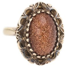 Vintage Goldstone Cocktail Ring 14 Karat Yellow Gold Estate Fine Jewelry Pre Owned
