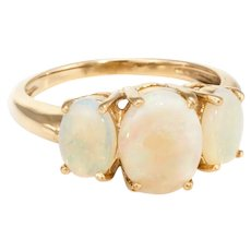 Three Stone Opal Ring Vintage 10 Karat Yellow Gold Estate Fine Jewelry Pre Owned