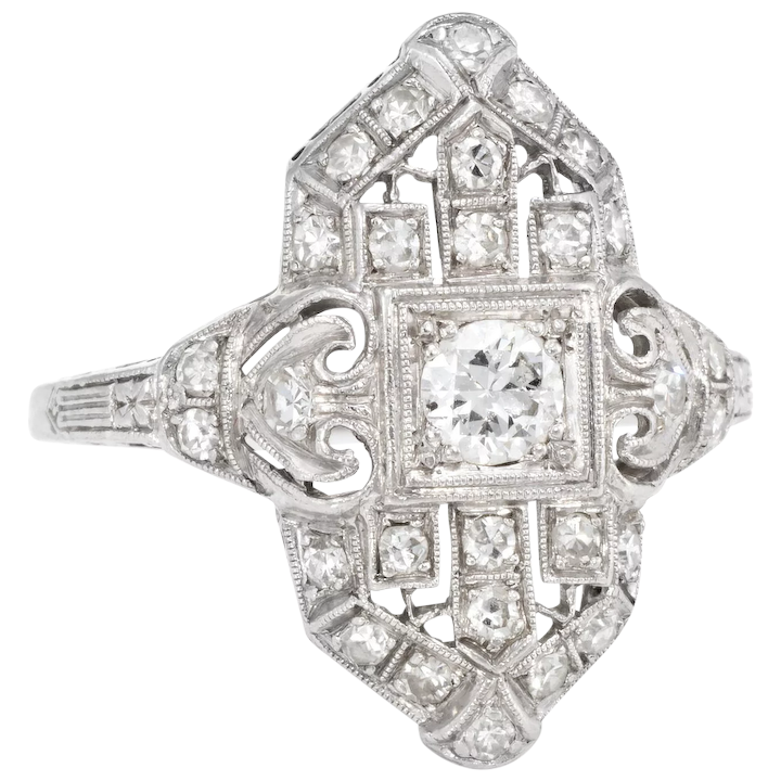 a0e9a0b09 Vintage Art Deco Diamond Platinum Cocktail Ring Estate Fine Jewelry : Sophie  Jane | Ruby Lane